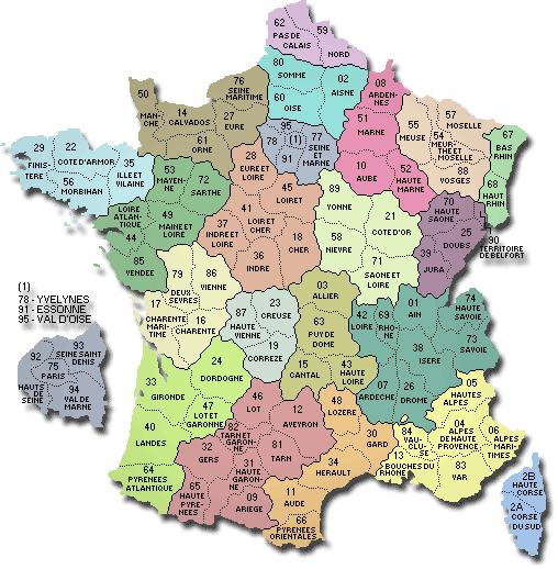 landkaart frankrijk departementen